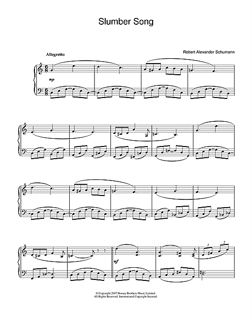 Partition piano Slumber Song de Robert Alexander Schumann - Piano Facile
