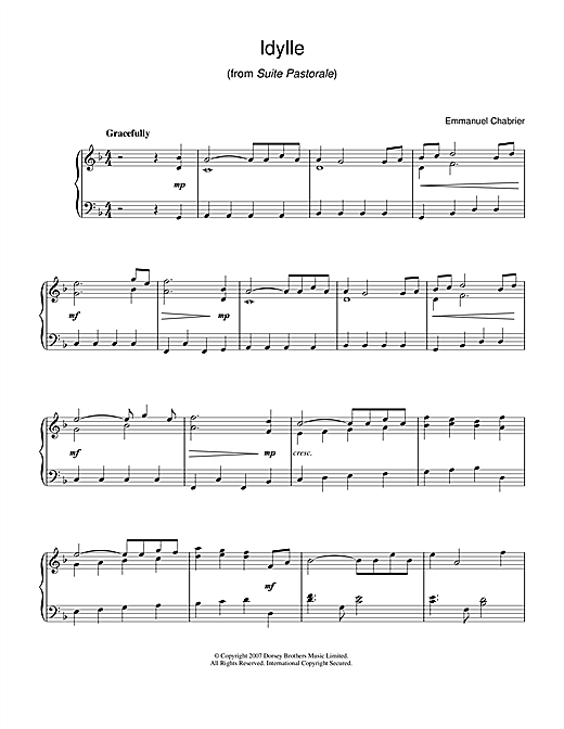 Partition piano Idylle (from Suite Pastorale) de Emmanuel Chabrier - Piano Facile