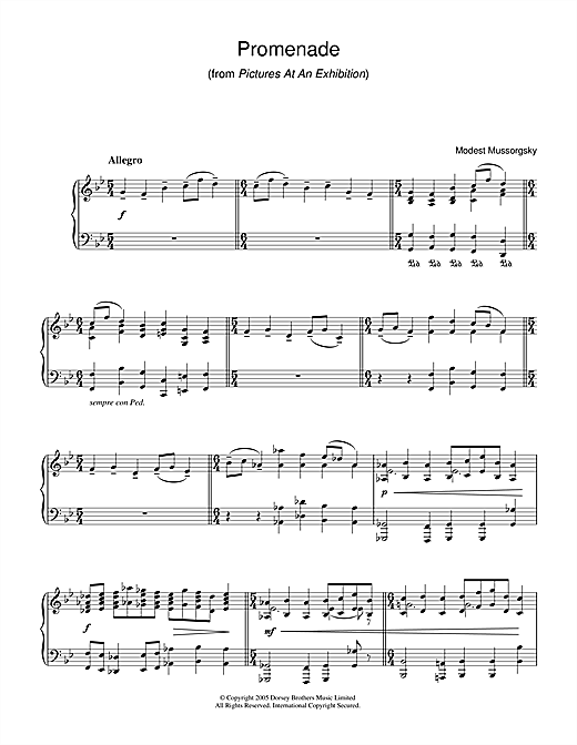 Promenade (from Pictures At An Exhibition) Sheet Music