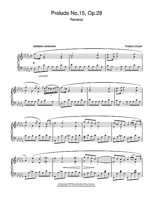 Prelude in D Flat Major, Op.28, No.15 (Raindrop) Sheet Music