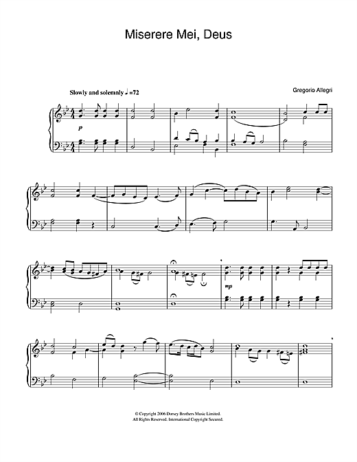 Miserere Mei Deus Sheet Music