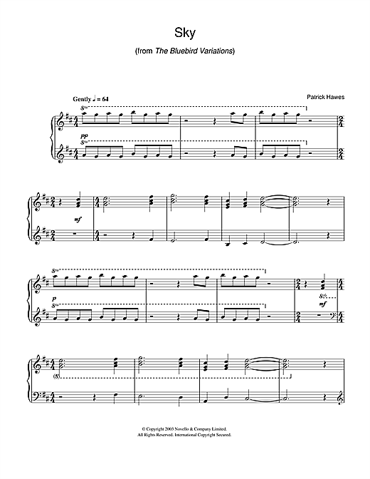 Sky (from The Bluebird Variations) Sheet Music