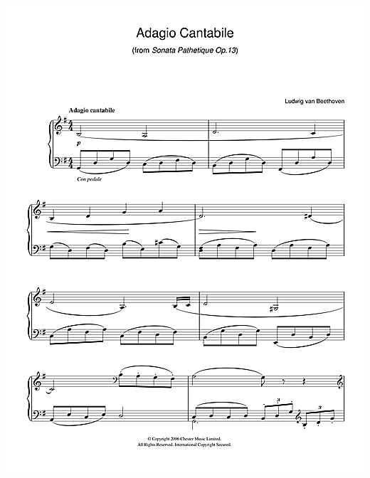 Adagio Cantabile from Sonate Pathetique Op.13 Sheet Music