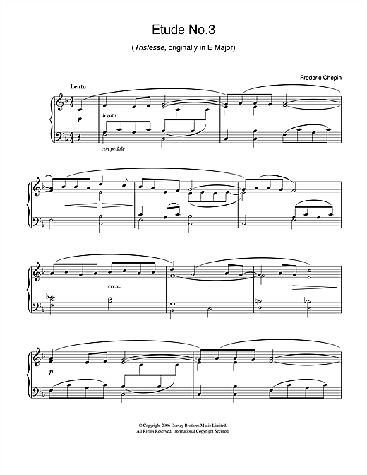Etude in F Major, Op.10, No.3 (Tristesse) (originally E Major) (Easy Piano)