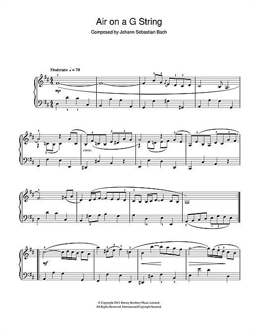 Partition piano Air On The G String (from Suite No.3 in D Major) de Johann Sebastian Bach - Piano Facile