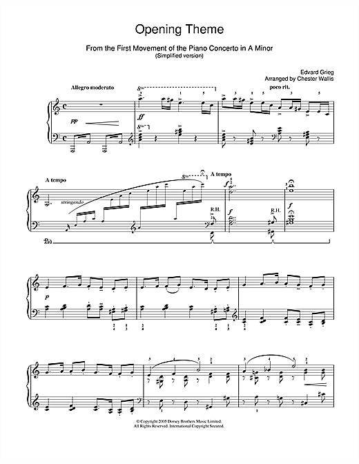 Partition piano Opening Theme from Piano Concerto in A Minor de Edvard Grieg - Piano Facile