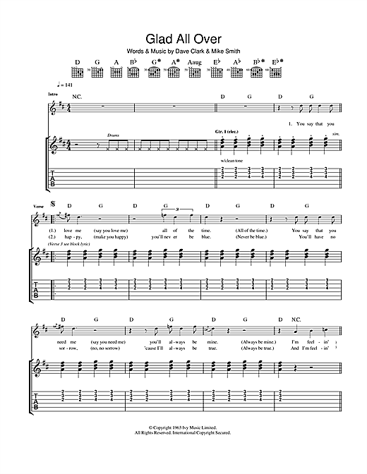 Glad All Over Sheet Music