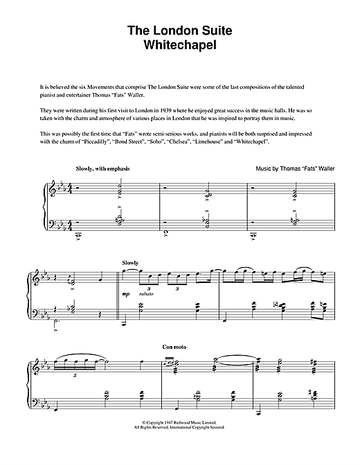 Whitechapel (from The London Suite) Sheet Music