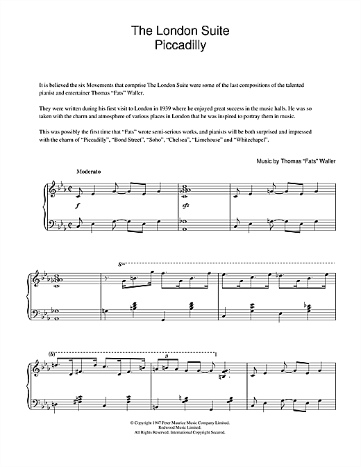Piccadilly (from The London Suite) Sheet Music
