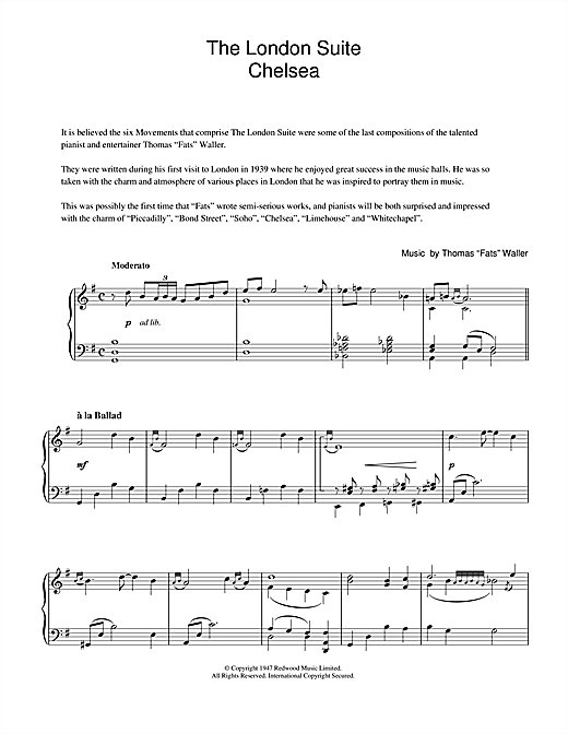 Chelsea (from The London Suite) Sheet Music