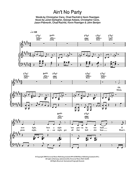 Ain't No Party Sheet Music