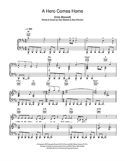 A Hero Comes Home (from Beowulf) Sheet Music