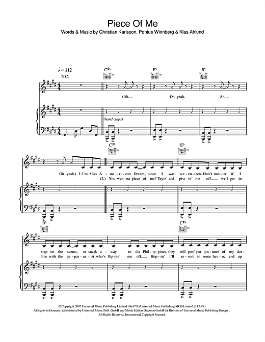 Partition piano Piece Of Me de Britney Spears - Piano Voix Guitare