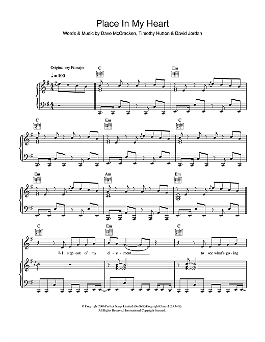 Place In My Heart Sheet Music
