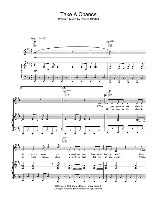 Partition piano Take A Chance de The Magic Numbers - Piano Voix Guitare