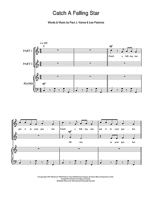 Catch A Falling Star Sheet Music