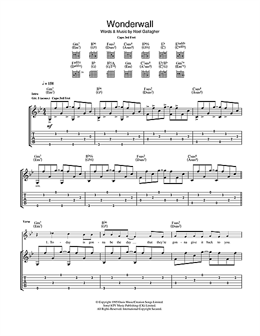 Tablature guitare Wonderwall de Ryan Adams - Tablature Guitare