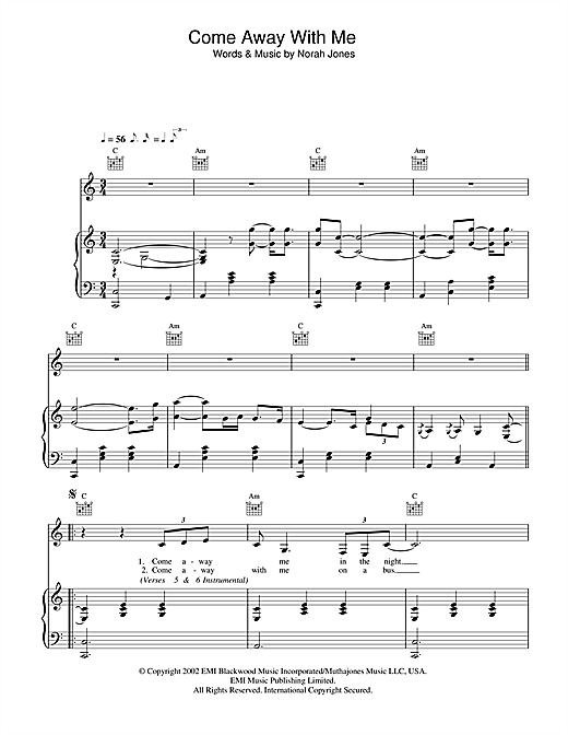 Come Away With Me Sheet Music