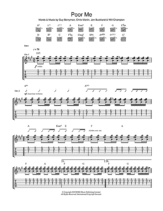 Tablature guitare Poor Me de Coldplay - Tablature Guitare