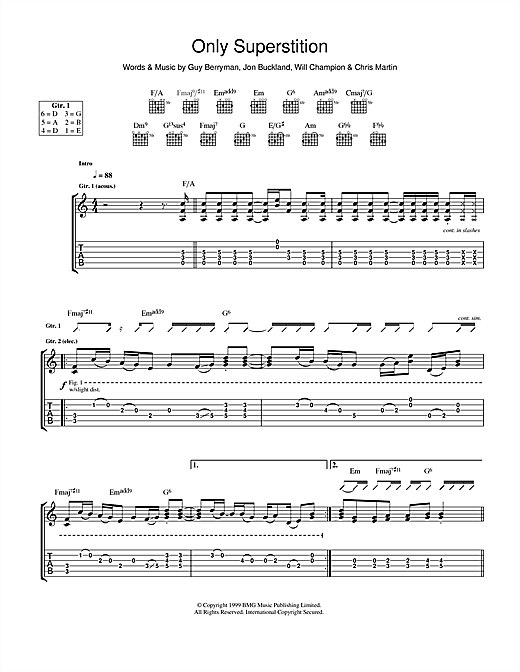 Tablature guitare Only Superstition de Coldplay - Tablature Guitare