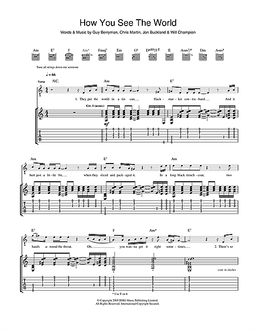Tablature guitare How You See The World de Coldplay - Tablature Guitare
