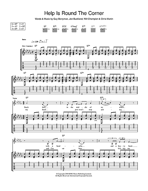Tablature guitare Help Is Round The Corner de Coldplay - Tablature Guitare