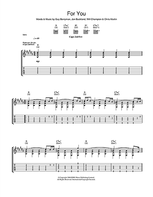 Tablature guitare For You de Coldplay - Tablature Guitare