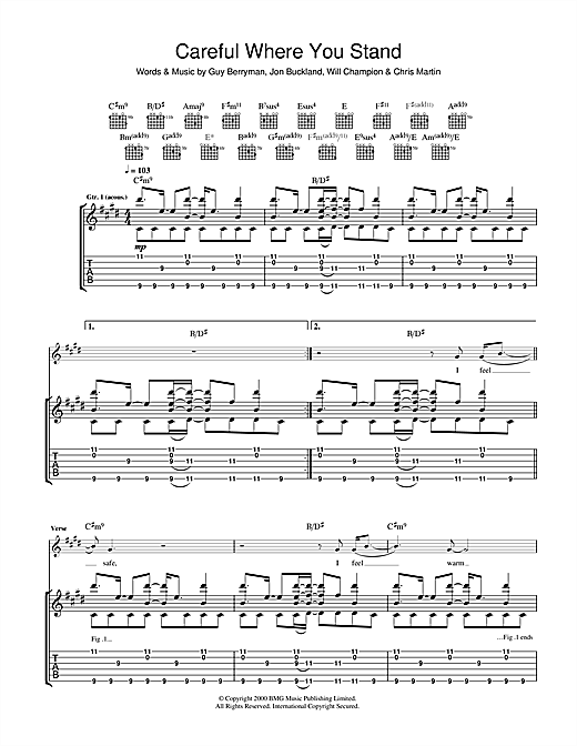 Tablature guitare Careful Where You Stand de Coldplay - Tablature Guitare