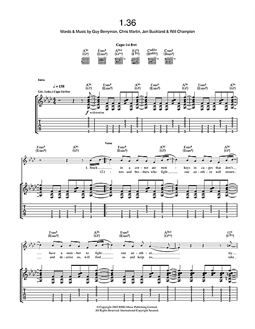 Tablature guitare 1.36 de Coldplay - Tablature Guitare