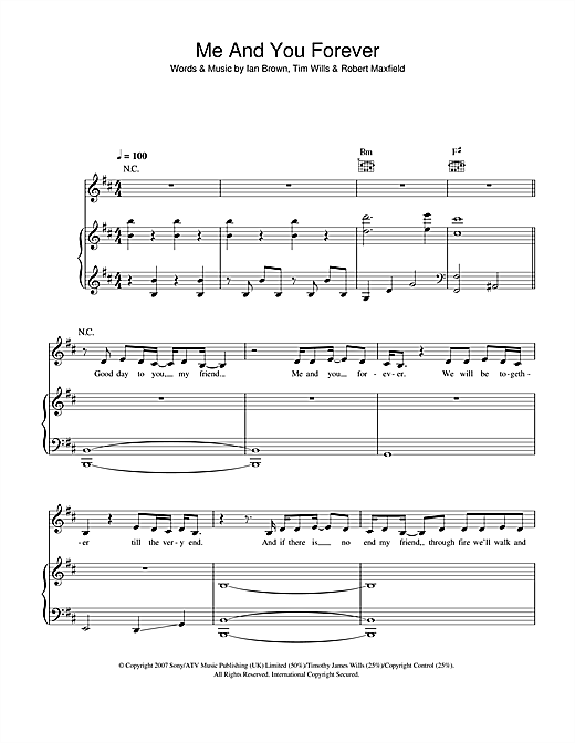 Partition piano Me And You Forever de Ian Brown - Piano Voix Guitare