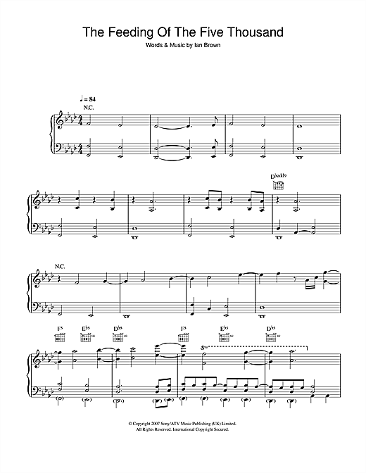 Partition piano The Feeding Of The Five Thousand de Ian Brown - Piano Voix Guitare