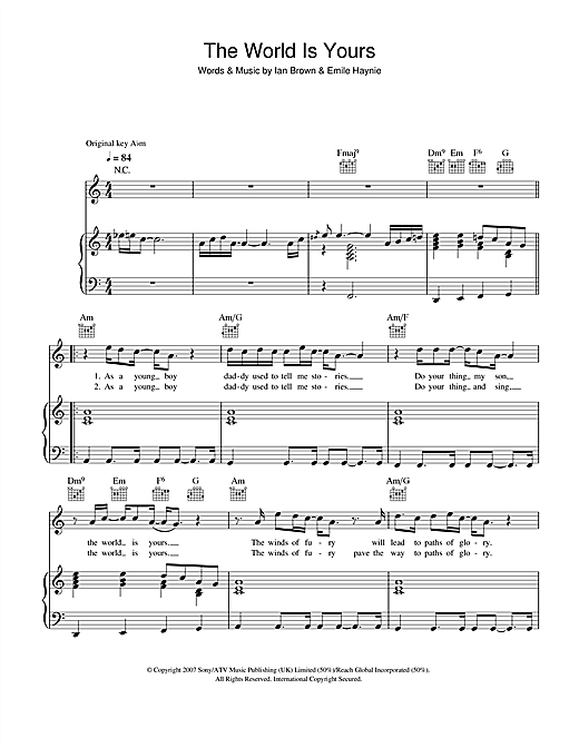 The World Is Yours Sheet Music