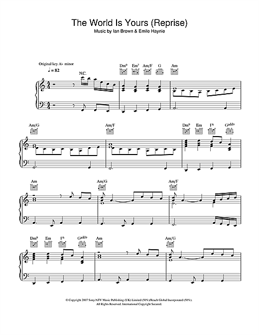 The World Is Yours (Reprise) Sheet Music