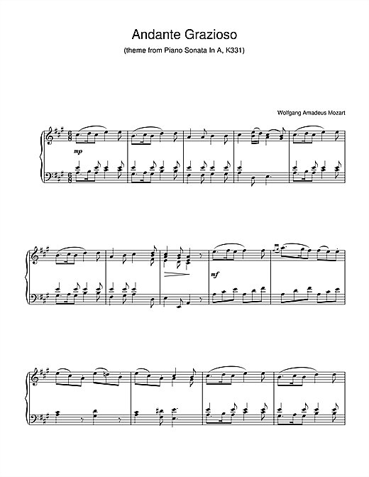 Andante Grazioso (theme from Piano Sonata In A, K331) Sheet Music