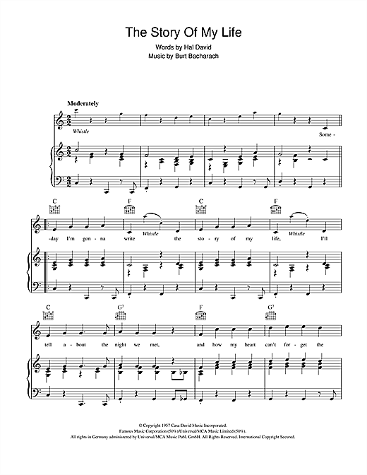 The Story Of My Life Sheet Music