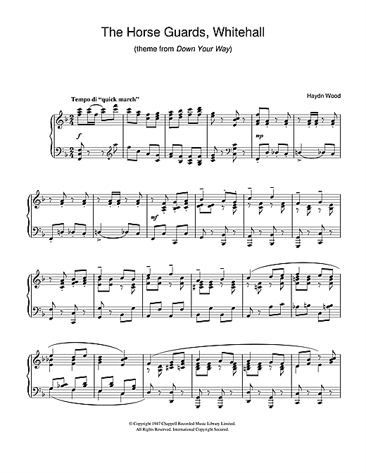 The Horseguards, Whitehall (theme from Down Your Way) Sheet Music