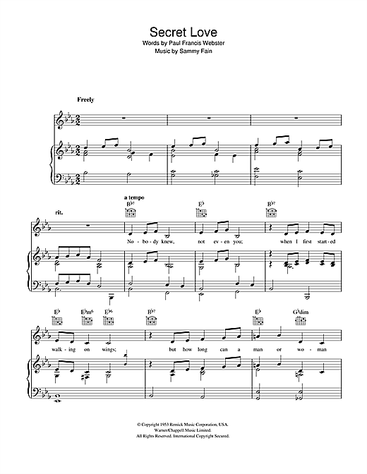 Secret Love Sheet Music