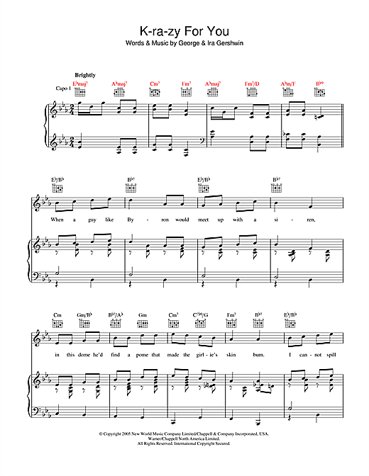 K-ra-zy For You Sheet Music
