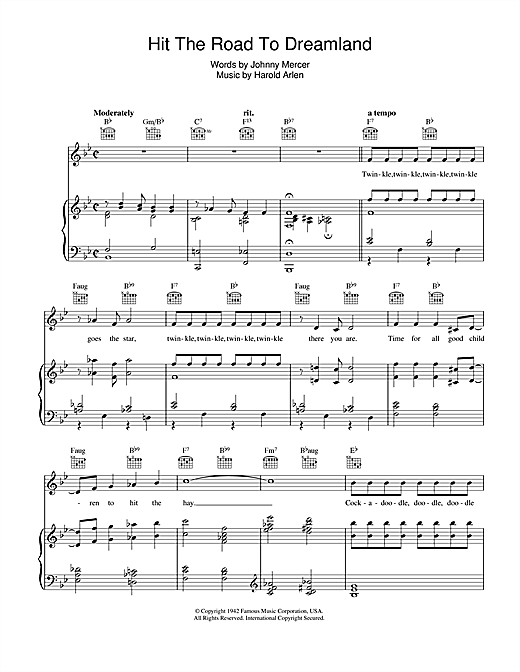 Hit The Road To Dreamland Sheet Music