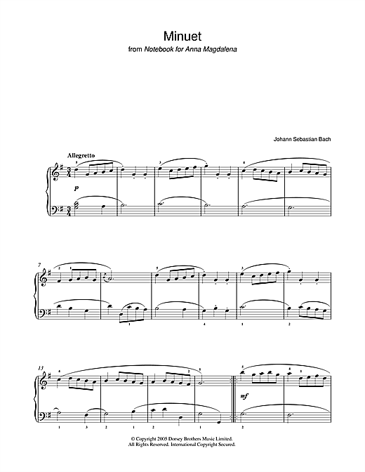 Minuet in G Major (from The Anna Magdalena Notebook) Sheet Music