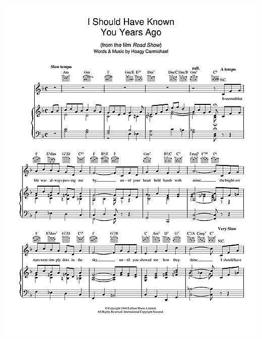 I Should Have Known You Years Ago Sheet Music
