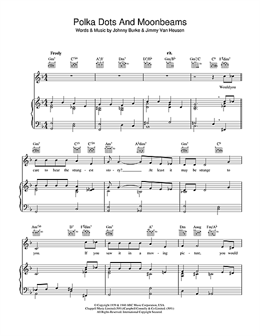Polka Dots And Moonbeams Sheet Music