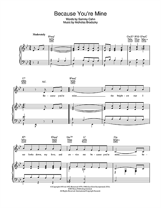 Because You're Mine Sheet Music