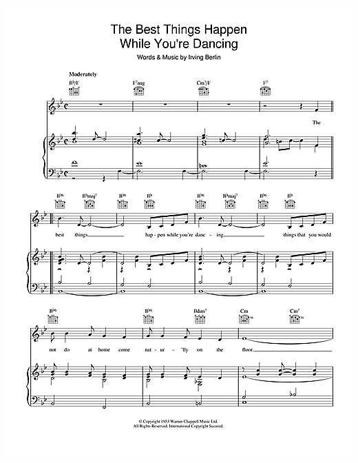 The Best Things Happen While You're Dancing Sheet Music