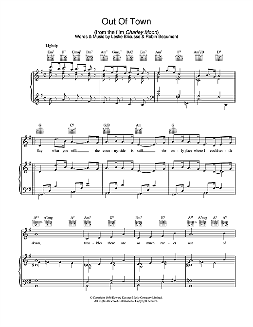 Out Of Town Sheet Music