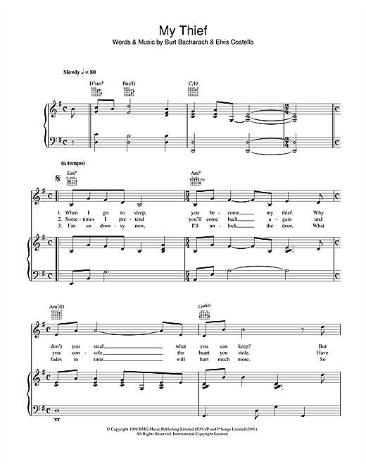 My Thief Sheet Music