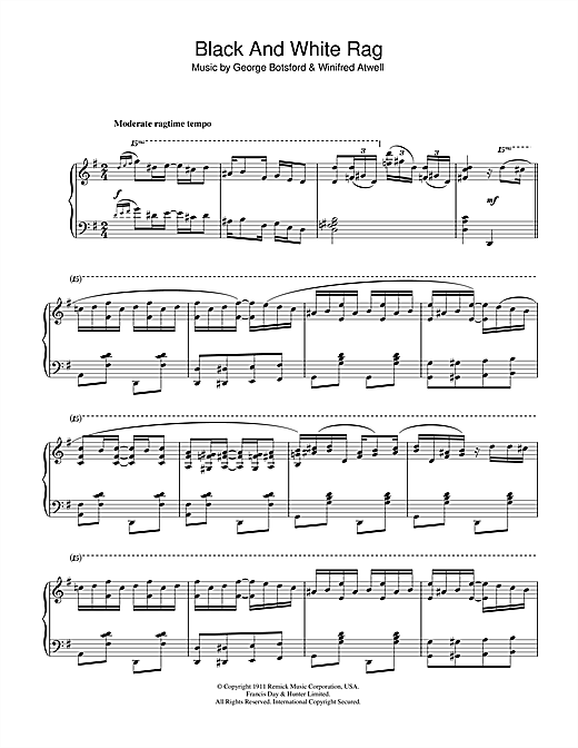 Partition piano Black And White Rag de George Botsford - Piano Solo