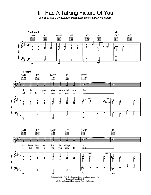 If I Had A Talking Picture Of You Sheet Music