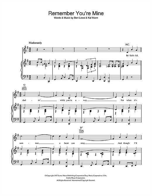 Remember You're Mine Sheet Music