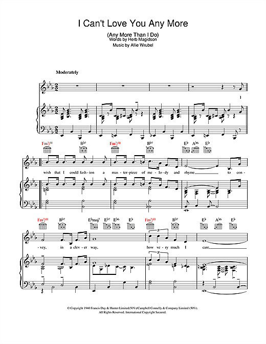 I Can't Love You Any More (Any More Than I Do) Sheet Music